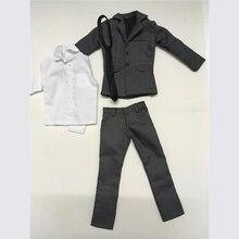 1/6 skala herren Grau Anzug Mantel Hosen Hemd Krawatte Modelle für 12 Action figuren Körper Spielzeug Geschenke Zubehör DIY