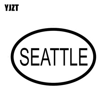 YJZT 13.3CM*9CM SEATTLE CITY COUNTRY CODE OVAL STICKER CAR STICKER VINYL DECAL Black Silver C10-01257 image