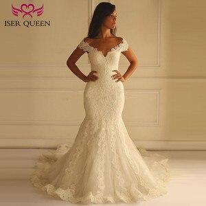 Image 1 - Puro branco africano sereia vestido de casamento manga curta boné oco plus size bordado apliques vestidos de casamento do vintage w0036