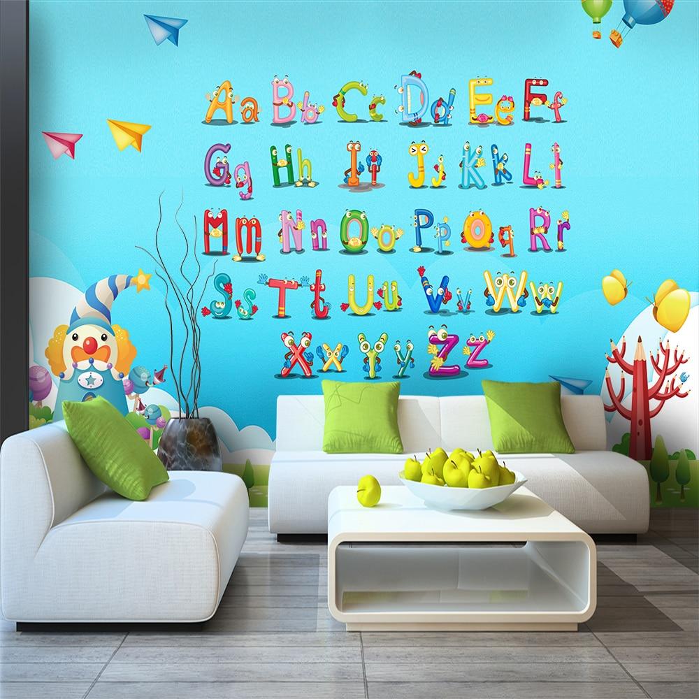 Custom 3d wallpaper Cartoon English alphabet wall stickers childrens room kindergarten classroom - silk waterproof materia
