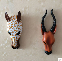 3D Hot Fashion Resin Animal Head Wall Stickers 3D Resin Decoration Sofa Bedroom Wall home accessories resin wall hanging