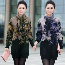 Осеннее винтажное кашемировое платье-свитер с цветочным принтом, женский теплый вязаный пуловер с длинным рукавом, элегантные зимние платья для мам