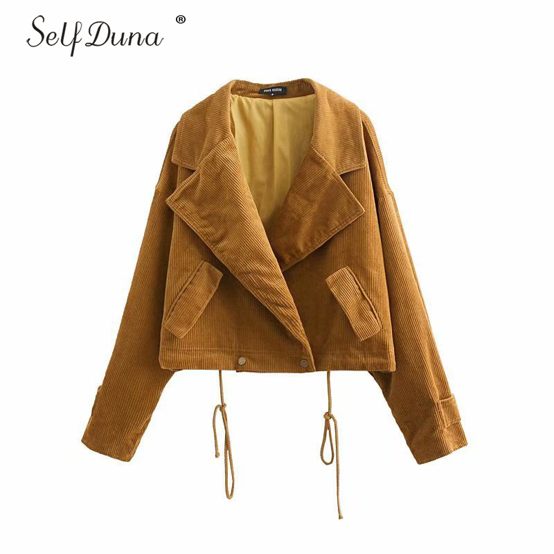 Self Duna 2019 Autumn Women Corduroy   Jacket   Winter Outwear Lace Up Vintage Short   Jacket   Coat Female   Basic     Jackets