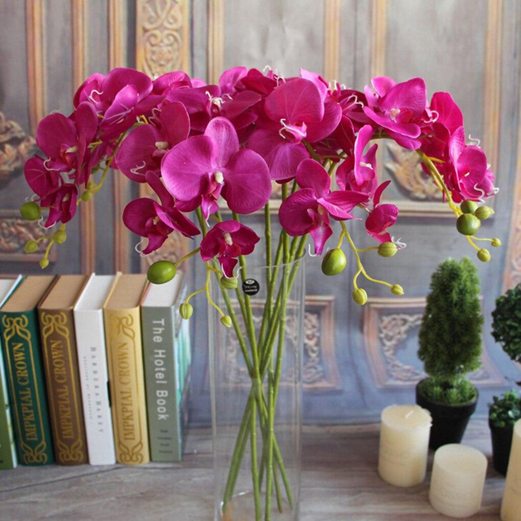Hot Selling Phalaenopsis Orchid Flower Party Garden Decor Flower Silk Artificial Stem Bouquet Home Decor