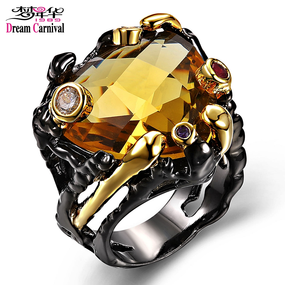 Vintage Black Gold Rings for Women Big Wedding Jewelry