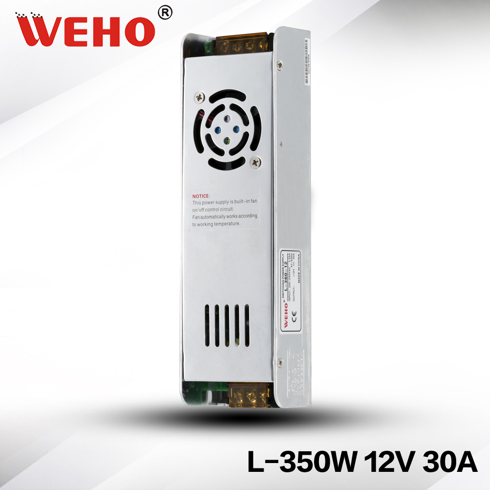 (L-350-12)  WEHO 12V 30A Power Supply 350W Constant Voltage Switch Mode LED Driver Transformer 220V AC Input Small Fanless kvp 24200 td 24v 200w triac dimmable constant voltage led driver ac90 130v ac170 265v input