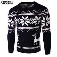 2016 Casual Sweater Men Christmas Deer Pullovers Outwear Brand Winter Knitting Long Sleeve O Neck Slim