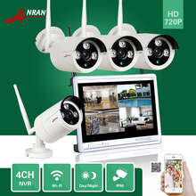 Wireless P2P CCTV 4CH NVR 12 Inch LCD Screen 720P Array IR Waterproof Network WIFI IP Camera Security Surveillance System Kit
