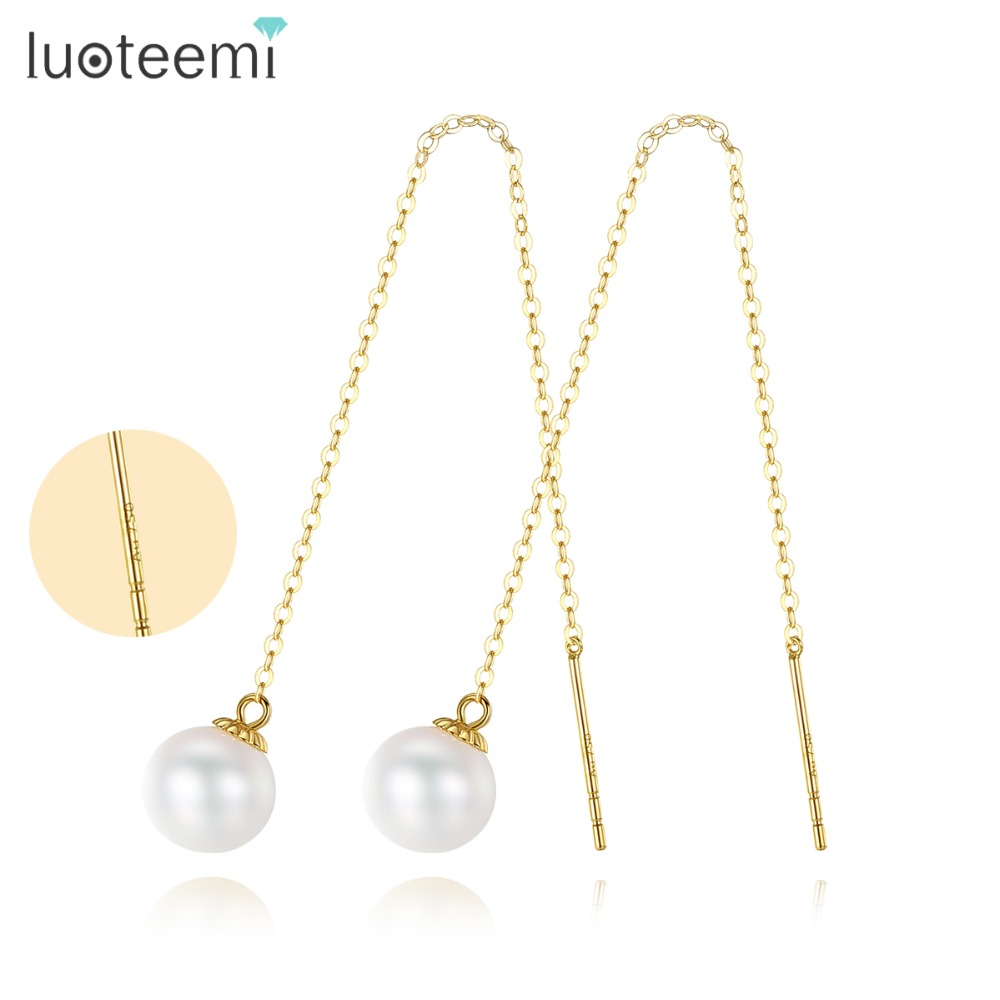 LUOTEEMI New Minimalism Style 18K Chain Long Dangle Earrings For Women 6.5-7mm Round Freshwater Pearl Drop Earring Fine Jewelry yoursfs dangle earrings with long chain austria crystal jewelry gift 18k rose gold plated