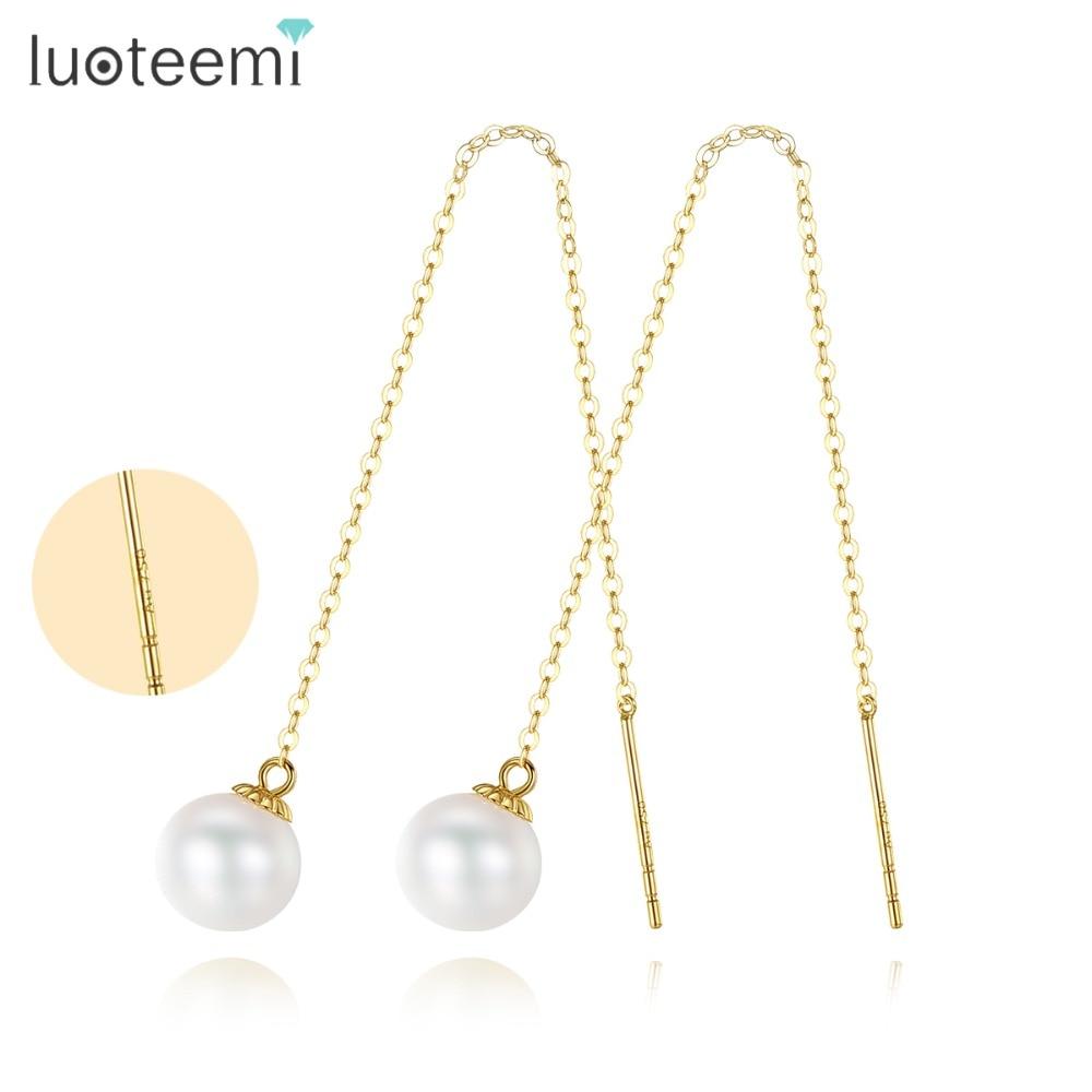 LUOTEEMI nouveau Style minimalisme chaîne longue boucles d'oreilles pour les femmes 6.5-7mm ronde perle d'eau douce goutte boucle d'oreille bijoux fins
