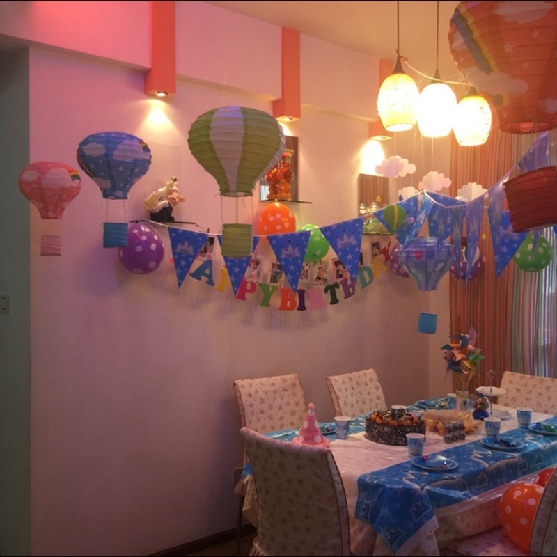 Paper Lanterns Wedding Decoration Ideas: Rainbow Printing Paper Lantern Wedding Decoration Hot Air