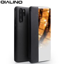 QIALINO Genuine Leather Ultra Slim Flip Case for Huawei P30 Pro 6.47 inch Handmade Phone Cover with Smart View for Huawei P30