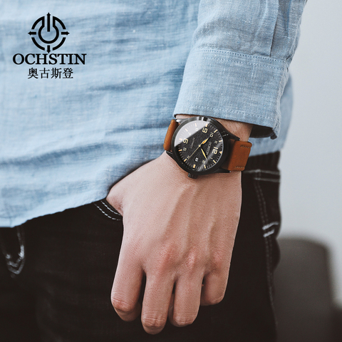 OCHSTIN Man Mechanical Pilot Wrist Watches For Men Luxury Casual Self Winding Leather Mechanic Male Clock Date relogio masculino Islamabad