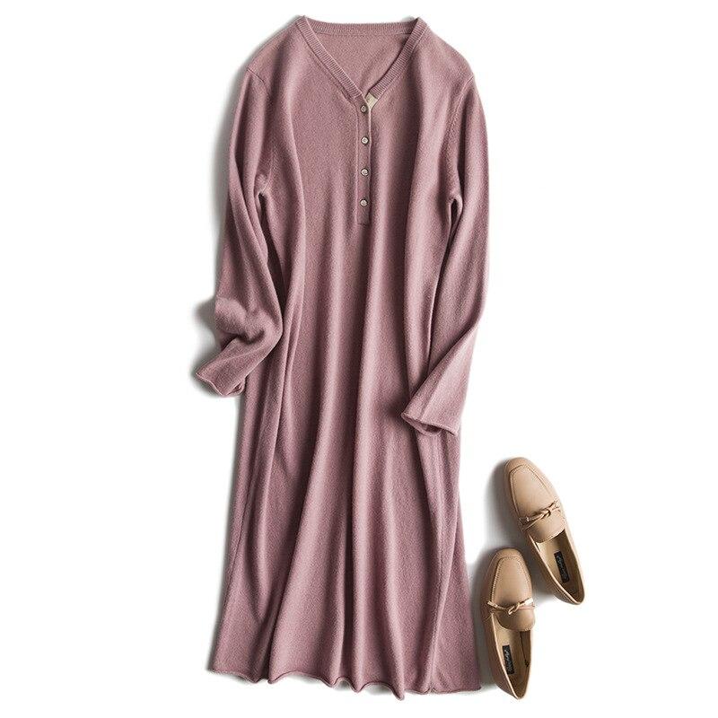 ad10e679c38 Long Cachemire Lâche Laine Taille Mode Tricot Large One Pull Robe De Boucle  Femmes Mélange Sur ...