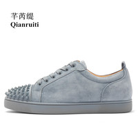 2019 Fashion Men's Vulcanize Shoes Men Suede Shoes Rivet Flat Low Top Spike Sneakers Lace up Men Shoes Runway Plus Size39 47