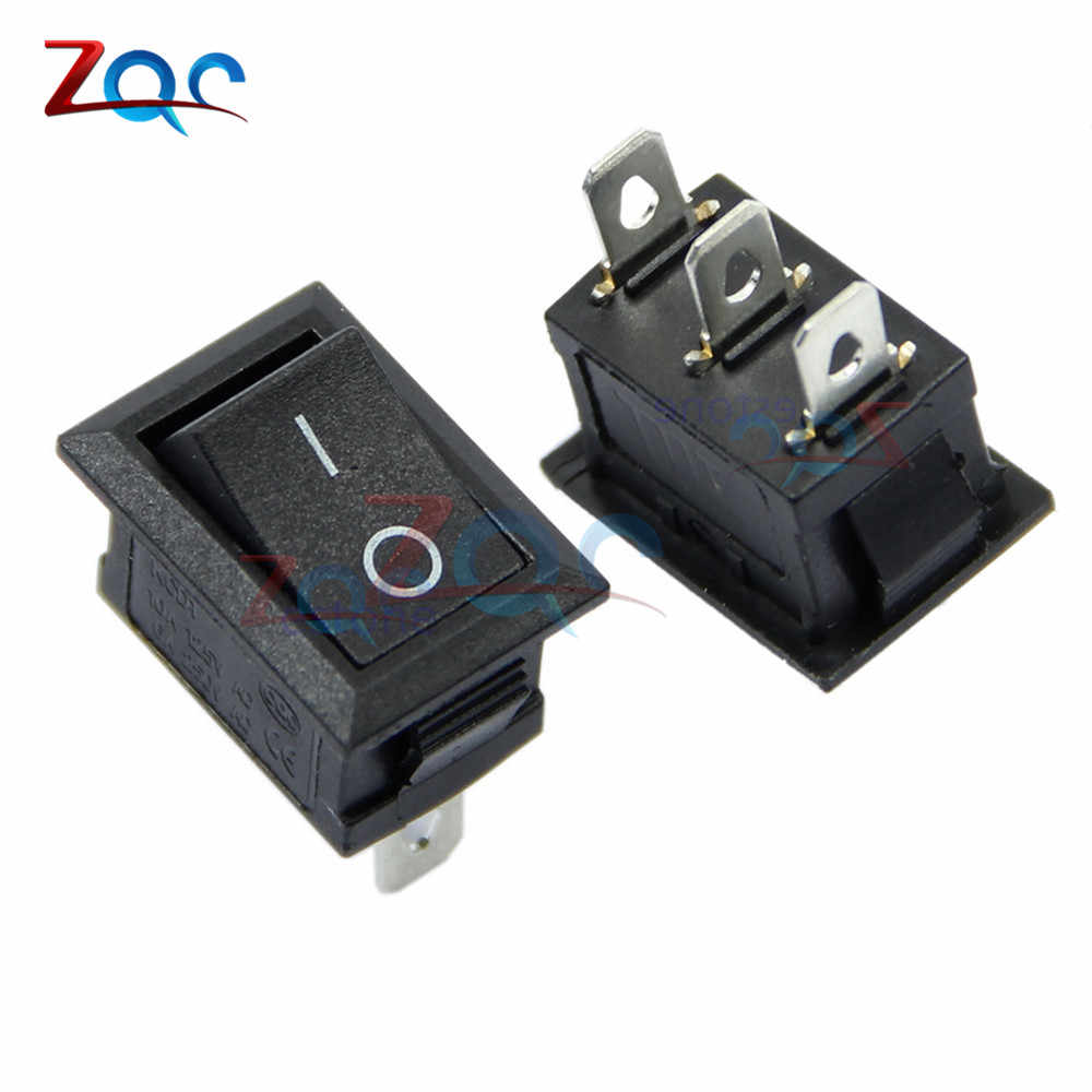 5PCS AC 6A/250V 10A/125V 3 Pin Terminal Snap-in On-Off Black Boat Switch Rocker