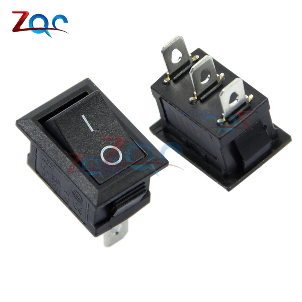 5PCS AC 6A/250V 10A/125V 3 Pin Terminal Snap-in On-Off Black Boat Switch Rocker 5pcs black push button mini switch 6a 10a 250v kcd1 101 2pin snap in on off rocker switch 21 15mm