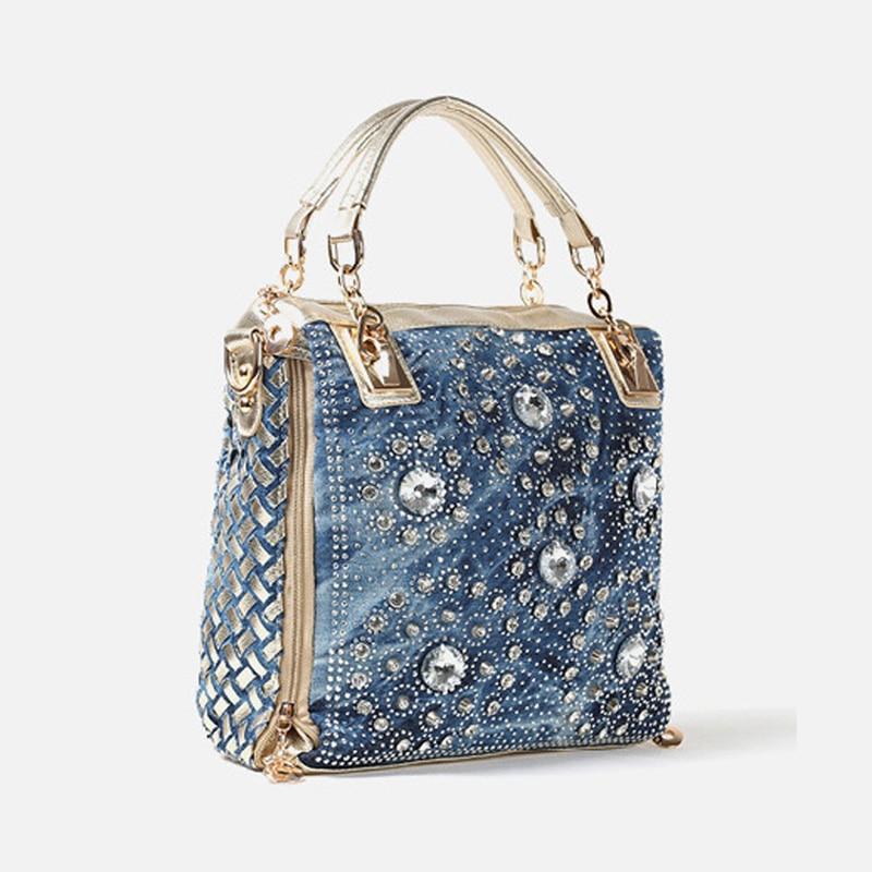 IPinee denim jean décontracté femmes sacs à main designer tissage sacs à bandoulière strass décoratif femmes messenger sac fourre-tout - 2