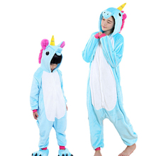 Mother & kids pajamas for girls Boys Animal Unicorn children sleepwear winter Hooded family matching outfits for 5 7 9 11 Years