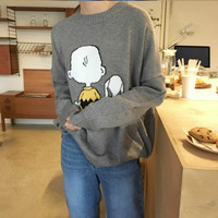 Women Autumn Winter Sweater Snoopy Jumper Knitted Pullover Tops Casual Plus Size Warm Pull Femme Hiver 2018 Sueter Mujer