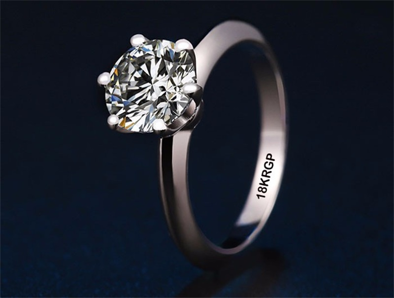 Assez Real Pure Gold Ring 18KRGP Stamp original Rings Set 1 Carat CZ  CO44