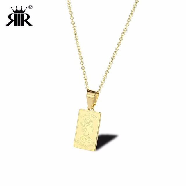 RIR Stainless Steel Gold Rectangular Elizabeth Portrait Glamour Necklace Exquisite Ladies Jewellery Necklace Girl Gift