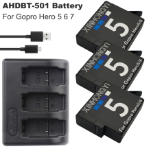 цена на 3x 1600mAh AHDBT-501 hero7 battery AHDBT 501 Go pro Hero5 Battery + USB 3-Port Charger For GoPro 5 Hero5 6 Hero 7 action Camera