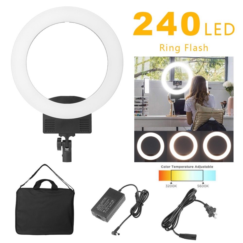 Camera Photo Studio Phone Video 36W 240pcs LED Ring Light 5500K Photography Dimmable Ring Lamp 1pc 150w 220v 5500k e27 photo studio bulb video light photography daylight lamp for digital camera photography