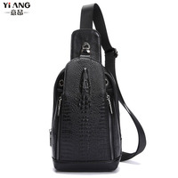 New Top Quality Men Genuine Leather Shoulder Messenger Bag First Layer Cowhide Crocodile Grain Head Sling