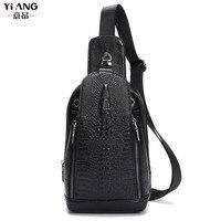 New Top Quality Men Genuine Leather Shoulder Messenger Bag First Layer Cowhide Crocodile Grain Head Sling