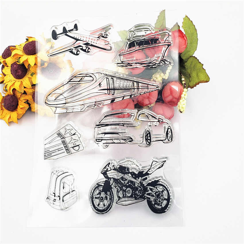 PANFELOU 11*16Cm Perjalanan Dunia Transparan Silikon Karet Bening Perangko Kartun untuk Scrapbooking/DIY Natal Pernikahan album