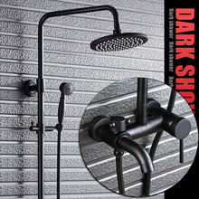 Full copper black bronze shower with shower set American rain shower set retro toilet TL057