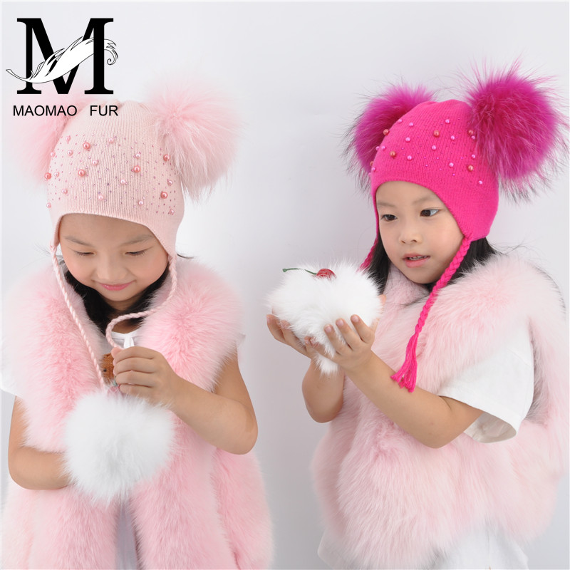 Kids Warm Winter Caps Double Fur Pom Pom Beanie Wool Knitted Hat For Baby Boys Girls Real Raccoon Fur Balls Beanie Cap Bonnet