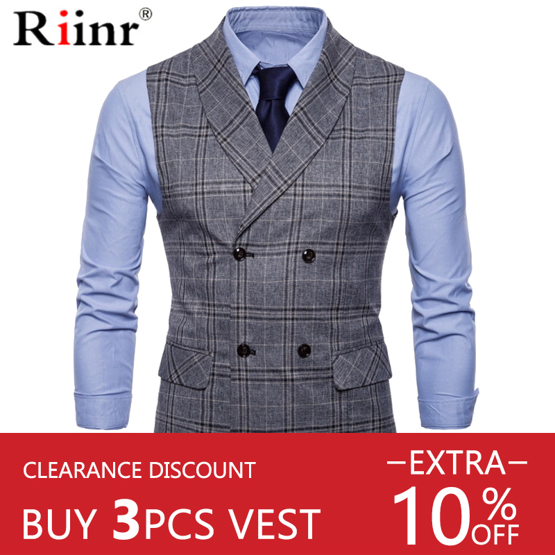 Riinr Best-Selling Mens Suit Vest Fashion Men Wedding Suit Vests Sleeveless Single Breasted Business Mens Vests No Shirts Dress