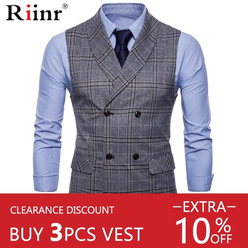 Riinr Best-Selling Mens Suit Vest Fashion Men Wedding Suit Vests Sleeveless Single Breasted Business Mens Vests No Shirts Dress