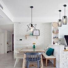 LED Indoor E27modern cage pendant light iron minimalist retro Scandinavian loft pendant lamp metal Hanging restaurantLamp