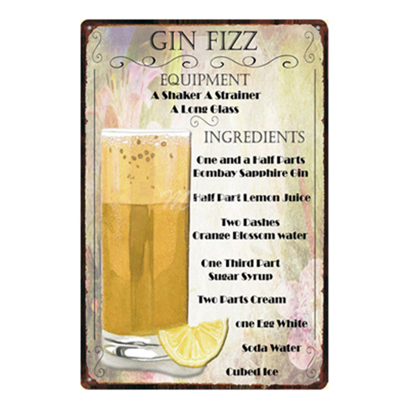 [ Mike86 ] Gin Fizz Cocktail Lounge Metal Plate Hawaii Wall Posters Vintage Tin Sign Antique Souvenirs Festival Gift Dd-1012 image