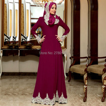 2017 Long Sleeves Fuchsia White Lace Appliques Hijab Evening Dresses Arabic Evening Gown Islamic Party Dress robe de soiree