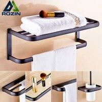 Black Bronze Bathroom Bath Towel Rack Wall Mounted Bath Shower Accessory Towel Bar Storage Holder