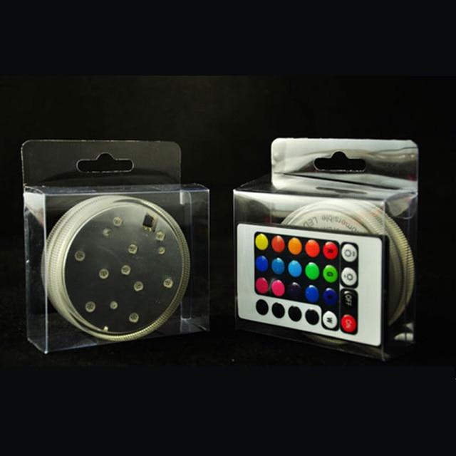 1PC LED lumières submersibles Multi couleur étanche mariage fête Vase Base avec 24 clés télécommande pour narguilé shisha