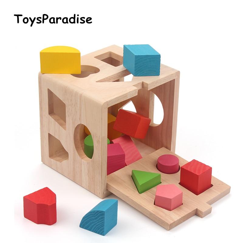 Baby Toys Shape Sorting Cube Geometric Assembling Blocks Wooden Toys For Kids Educational Toys Geometry Box Gift