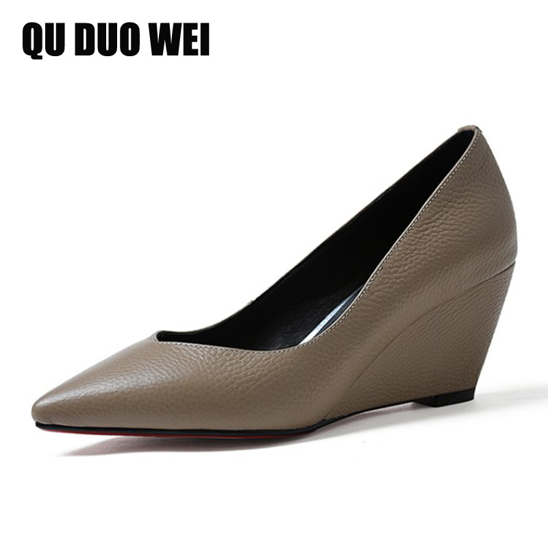2018 New Cow Genuine Leather OL Women Work Pumps Pointed Toe Slip-On Wedges Shoes Woman Fashion Career Solid High Heels Shoes new stylish designer lady high heels shoes pointed toe concise slip on office career shoes woman string metal bead shoe edge
