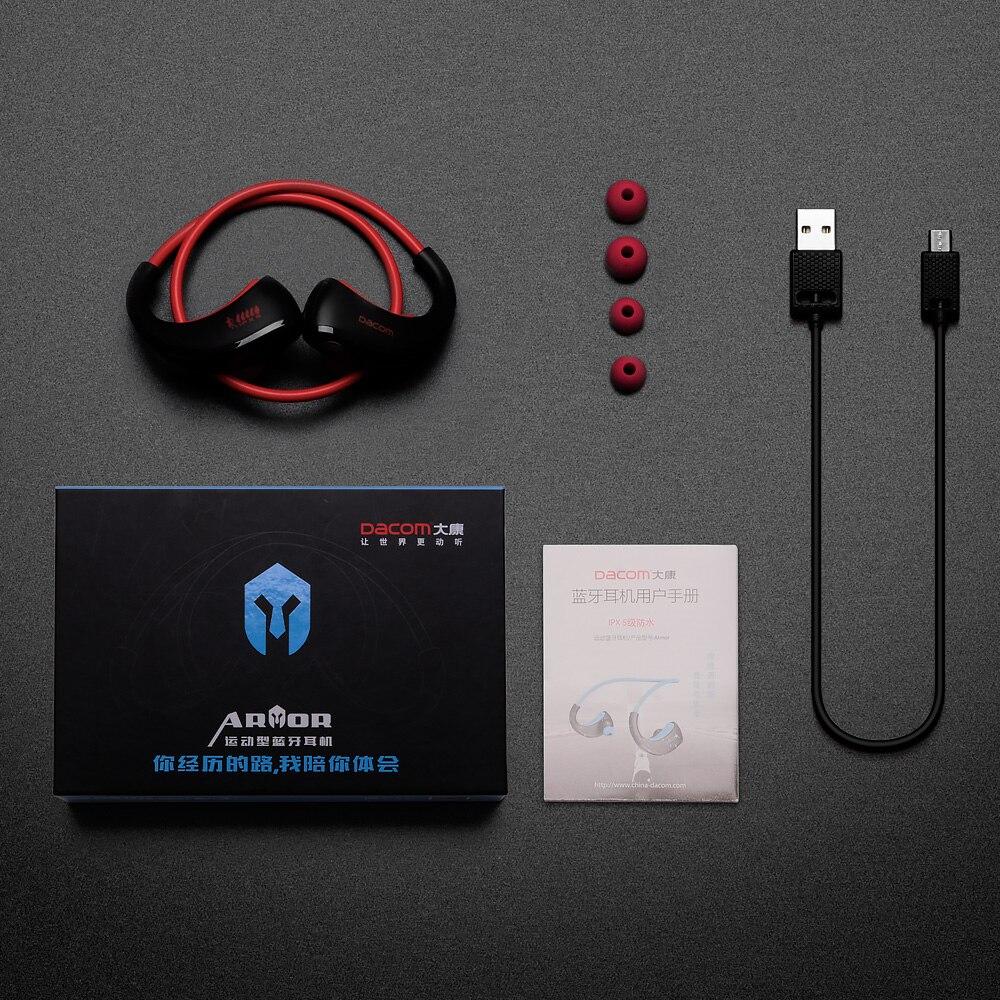 Dacom armadura impermeable del deporte auriculares inalámbricos auriculares Bluetooth auricular de Audio estéreo de auriculares con micrófono de manos libres para correr - 6