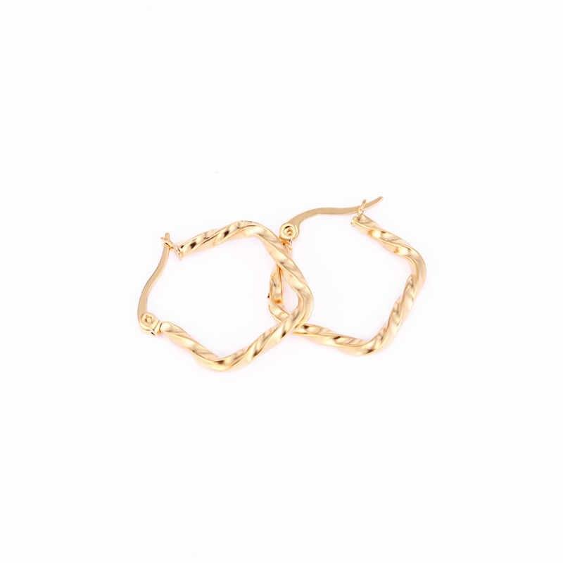 新しい女性ゴールド/シルバーカラーのステンレス鋼五芒星のイヤリング幾何ツイスト五角形女性パーティージュエリー