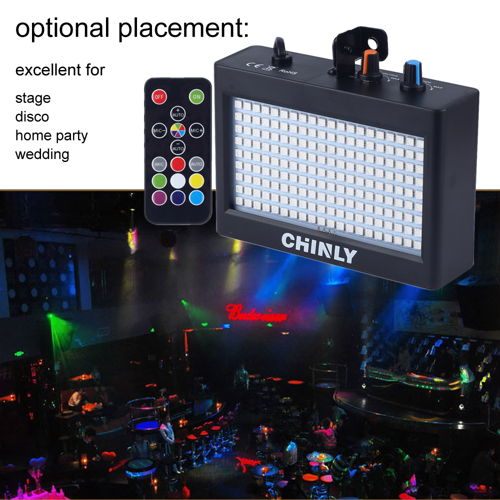 CHINLY 180 <font><b>LEDs</b></font> Strobe Flash Light Portable 35W RGB Remote Sound Control Strobe Speed Adjustable for Stage Disco <font><b>Bar</b></font> <font><b>Party</b></font> Club image