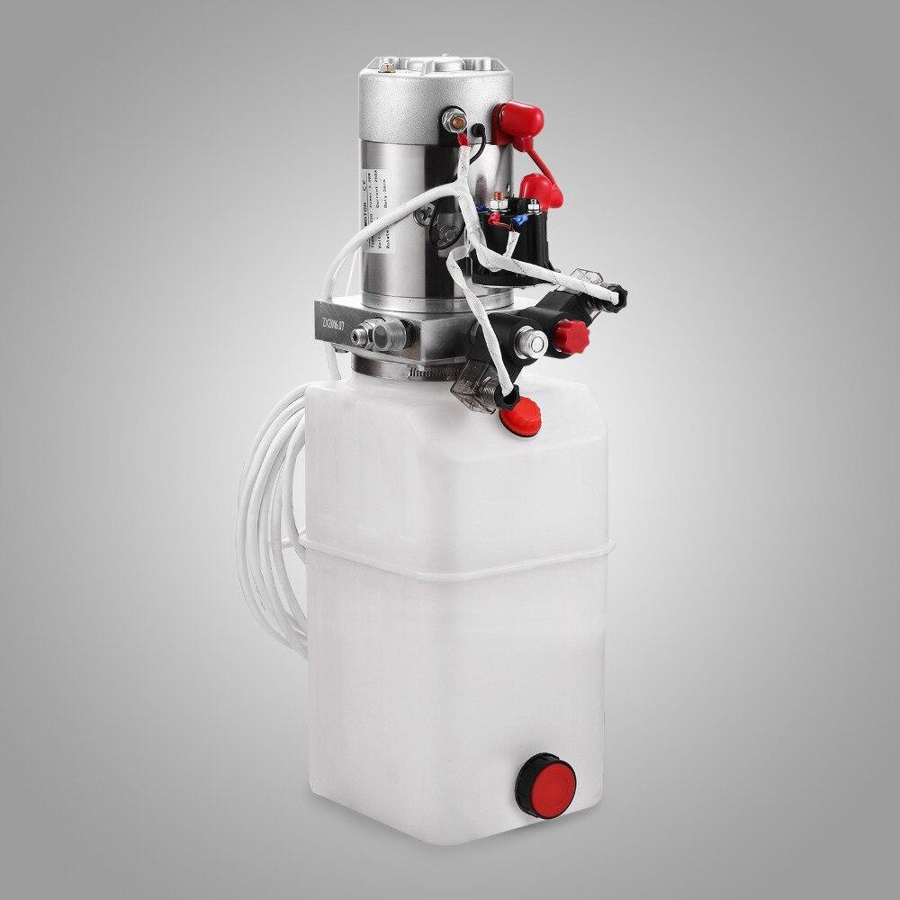 Double Effet Hydraulique Pompe remorque benne basculante 6 Quart Réservoir À Distance 12 Volts
