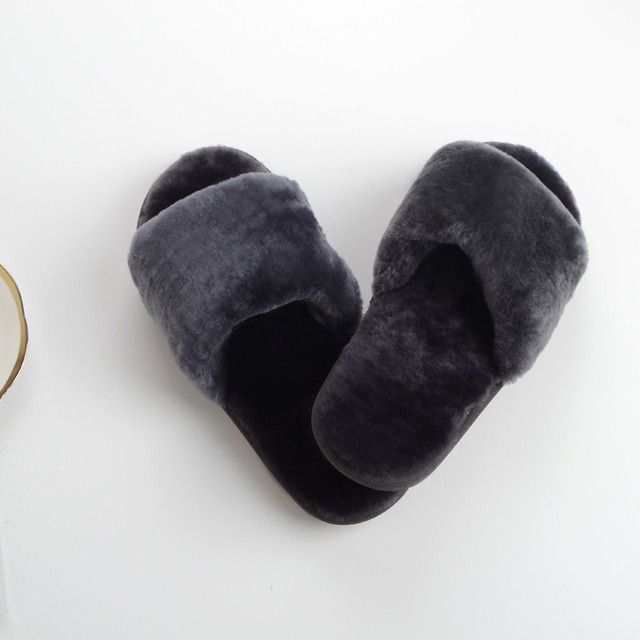 3951aa02d6d16 US $15.25 22% OFF|2018 Fashion Women's Wool Slippers Real Sheep Fur Winter  Warm Cotton Slippers Thick Flat with Anti slip Fingerless Rabbit Fur-in ...