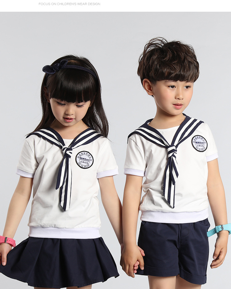 Boys Girls Children's Clothing Korean British Summer College Kindergarten  Elementary School Uniform Suits Kids Two Pieces Sets