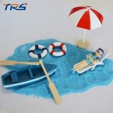 14pcs scale model seaside beach scenery with chair wood bikinis and model white umbrella sand