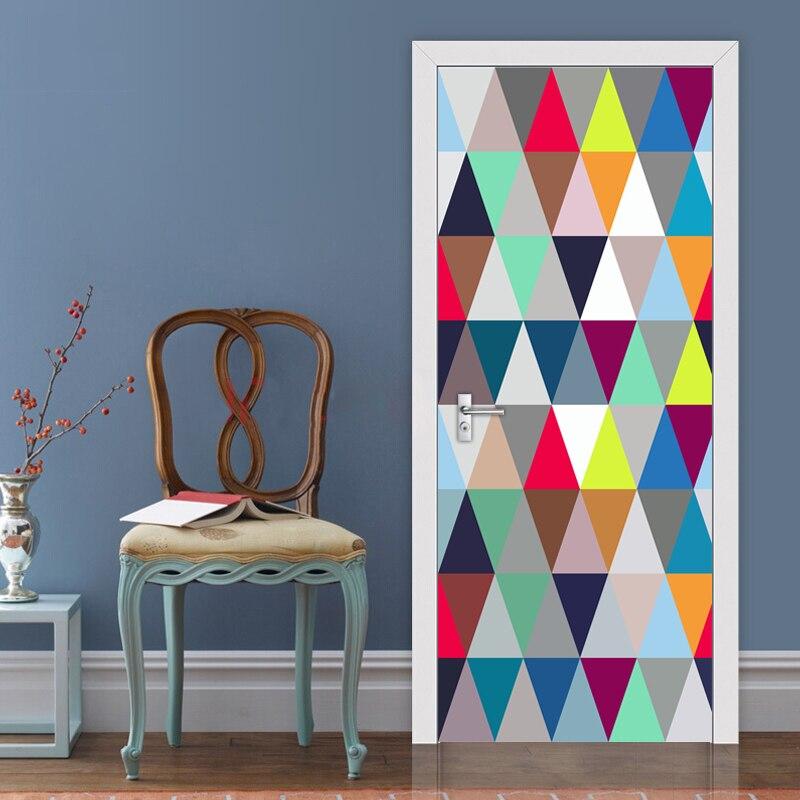Modern Abstract Art Geometric Pattern 3D Living Room Study Bedroom Door Creative DIY Mural Sticker Vinyl Wallpaper Home Decor